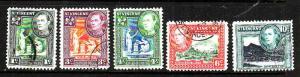 St Vincent-Sc#180-4-used KGVI set-1952-