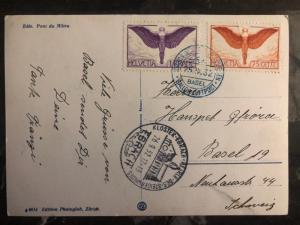 1932 ebrach Switzerland Gordon Bennett Balloon Flight Postcard Cover # C12  C11