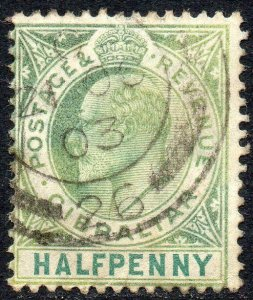 1903 Gibraltar Sg 46 ½d grey-green and green Fine Used