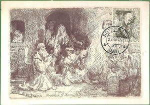 90257 - NETHERLANDS - Postal History - MAXIMUM CARD -  ART  Rembrant 1956