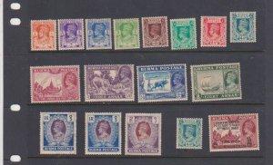 Burma 1940 Scott # 18A-30,30NG,31NG +34,28 KGVI MLH
