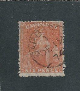 BARBADOS 1870 6d ORANGE-VERMILION ROUGH PERF LARGE STAR FU SG 46 CAT £90