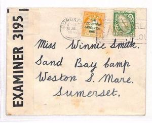 AJ259 1941 EIRE WW2 CENSORED Cork to *Sand Bay Camp* GB Weston-Super-Mare Som