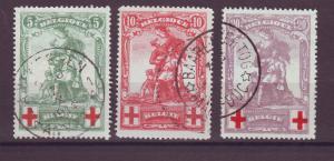 J14809 JLstamps 1914 belgium set used #b28-30 monument $85.00 scv