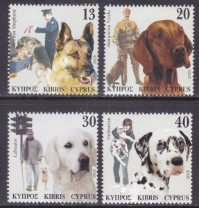 Cyprus 1041-44 MNH 2005 Complete Set of Dogs Police Dog & Pets VF