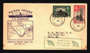 Ceylon 1940 SS Exemplar Maiden Voyage Cover  - Z18608