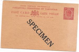 Tanganyika KGV 15c PSC overprint Specimen (bac)