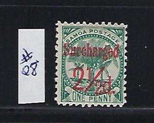 SAMOA SCOTT #28 1898-1900 SURCHARGE 2 1/2P ON 2P  (BLUE GREEN) -  MINT HINGED