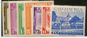 Colombia, Scott #580-86, Unused, Hinged - complete set