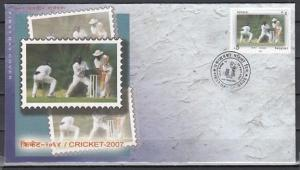 Nepal, Scott cat. 790. Cricket, Sports issue on a First day cover.