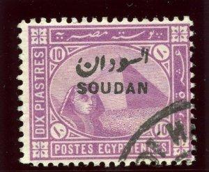 Sudan 1897 QV 10p mauve very fine used. SG 9. Sc 8.