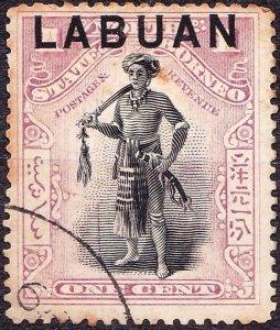 LABUAN 1894 1 Cents Black & Grey-Mauve SG62b FU