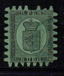 Finland Sc 7 1867 8p black Coat of Arms stamp used