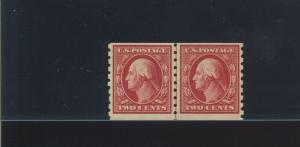 Scott #393 Washington Mint Coil Line Pair of 2 Stamps (Stock #393-lp1)