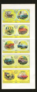 Sharjah & Dependencies Automobiles Souvenir Sheet of 6 1969 Mint Hinged see note