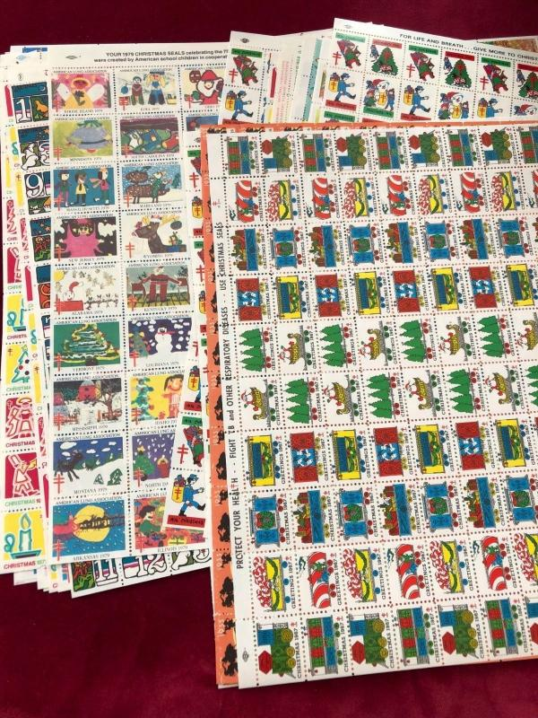 Christmas Seals All Full Sheets.Beautiful Color and Undervalued 8 Different.