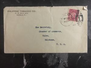 1926 Manila Philippines USA Commercial Cover Philippine Tobacco To OK USA