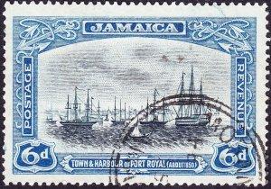 JAMAICA 1922 KGV 6d Black & Blue SG101 Used