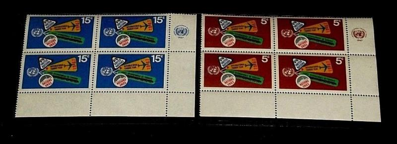 U.N. 1967,NEW YORK #175-176, INTL. TOURISTS YEAR, MNH, INSC. BLKS/4, NICE! LQQK!