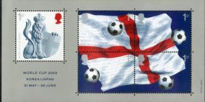 GREAT BRITAIN 2056 MNH S/S SCV $7.25 BIN $4.25 KOREA/JAPAN WORLD CUP SOCCER