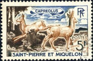 St-PIERRE-&-MIQUELON - 1964 - Yv.374/Mi.410 5fr Capreolus (Chevreuil) - Obl. TB