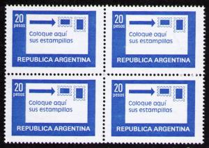 ARGENTINA 1978 20p #1201 CORRECT POSITION OF STAMPS BLOCK OF VF MNH STAMPS