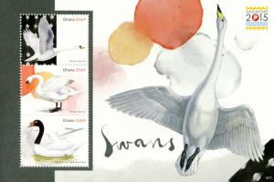 Ghana 2015 MNH Swans Singapore 2015 3v M/S Birds Mute Black-necked Swan