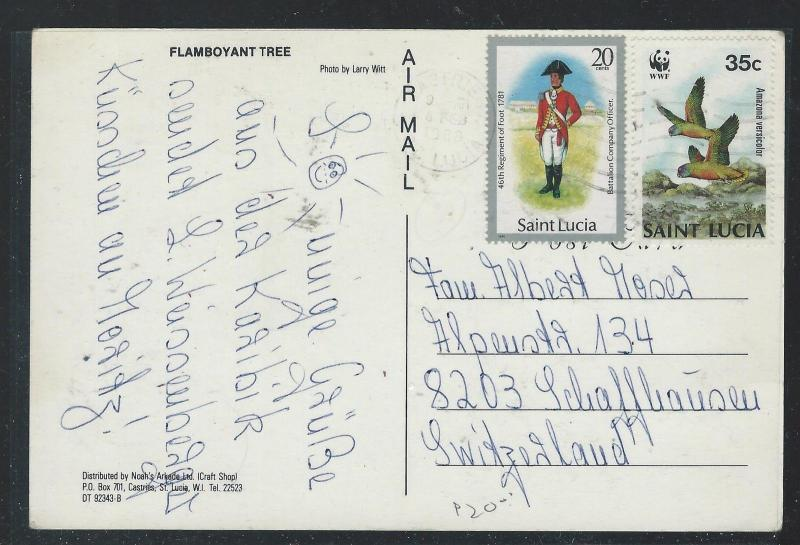 ST LUCIA  (P2209B) PPC WITH 20C SOLDIER+35C WWF BIRD TO SWITZERLAND