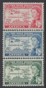 Antigua, Scott #122-124; West Indies Federation, MLH