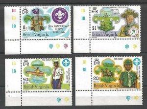 1982 British Virgin Islands Boy Scout 75th anniversary corner plate singles