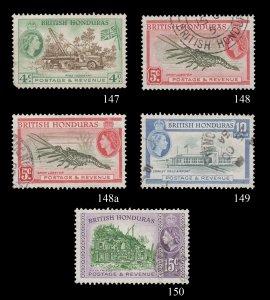 BRITISH HONDURAS - BELIZE 1953 - 57. SCOTT # 147 - 150. HARD TO FIND.