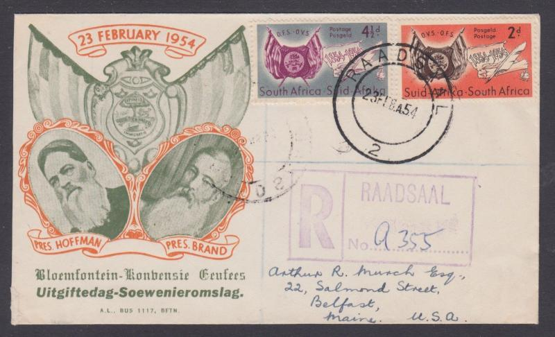 South Africa Sc 198-199 Registered FDC. 1954 Orange Free State Centenary cplt
