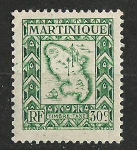 Martinique # J38  Postage Due - Island Map   (1) VF Unused