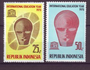 J21044 Jlstamps 1970 indonesia set mh #795-6 unesco