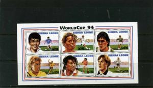 SIERRA LEONE 1994 Sc#1731 SOCCER WORLD CUP USA SHEET OF 6 STAMPS MNH