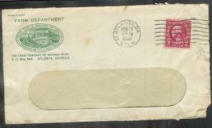 1930 2 cents Atlanta GA (Feb 13) Farm Department corner card