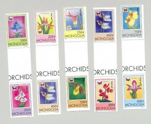 Mongolia #2269-2277 Orchids & Butterflies 9v in 5v Cross Gutter Proof Pairs