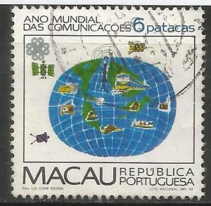 MACAU  471  USED,  GLOBE SATELLITES