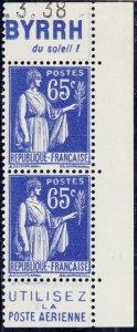 FRANCE - 1937 Paire avec Pubs BYRRH/Poste Aérienne Yv.365b 65c Paix t.II Neuf**