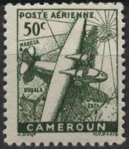 Cameroun C16 (mnh) 50c plane & map, green (1946)