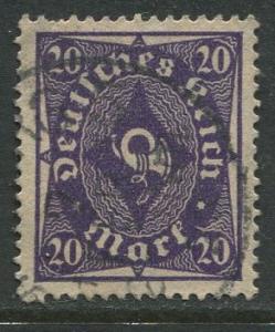 GERMANY. -Scott 191 - Definitives -1922- Used - Wmk 126 - Single 20m Stamp