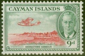 Cayman Islands 1950 9d Scarlet & Grey-Green SG143 V.F Lightly Mtd Mint