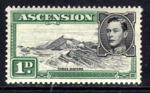 Ascension Island 1938 - 53 KGV1 1d Black & Green MM SG 39d ( R624 )
