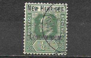New Hebrides Overprint On Fiji Stamp Used Condominium 1/2d King Edward VII