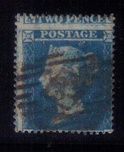 GB 1854 2d Blue Sg19 PL 4  Very Fine Used Misperf