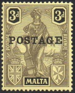 Malta 1926 3d black/yellow MH