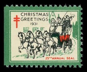 USA WX61  Mint (NH) 1931 Christmas Seal (Perf 12)