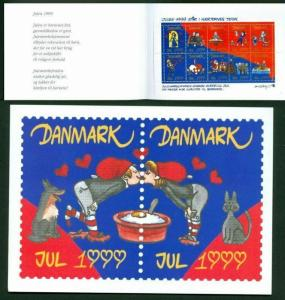 Denmark. Christmas Seals 1999 Souvenir Folder Dog,Cat,Santa.Velentines