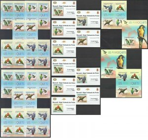 BU49 IMPERF,PERF 2012 BURUNDI FAUNA BIRDS PARROTS PERROQUETS !!! 12BL+12KB MNH