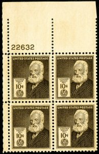 US Stamps # 893 MNH Superb Plate Block of 4x